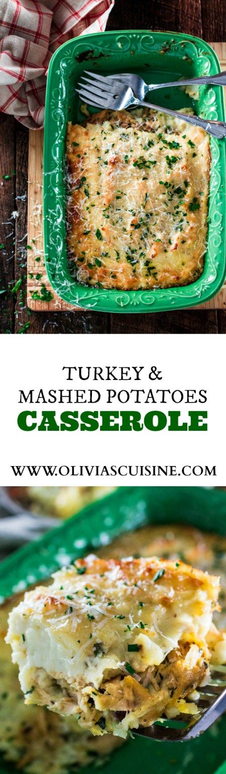 Turkey and Mashed Potatoes Casserole | www.oliviascuisine.com | Looking for a good recipe to use all those Thanksgiving leftovers? Look no further! This casserole is made with leftover turkey, gravy and mashed potatoes (plus some parmesan cheese, obviously! :P) and is to die for!