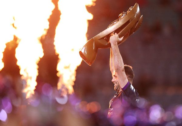 Cameron Smith of the Storm celebrates and holds aloft the NRL Premiership trophy after winning the 2017 NRL Grand Final match between the Melbourne Storm and the North Queensland Cowboys at ANZ Stadium on October 1, 2017 in Sydney, Australia.