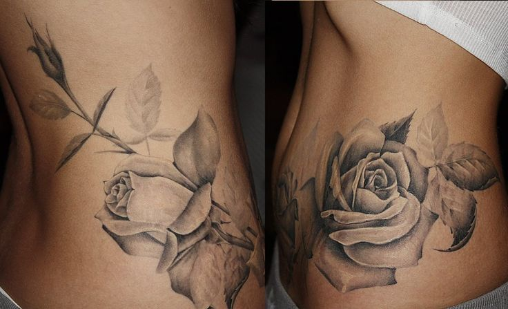 Amazing detail Rose Flower Tattoo Beautiful Detailed Amazing Hip Side Tat Girly