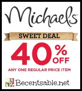 Michaels Printable Coupon: 40% Off