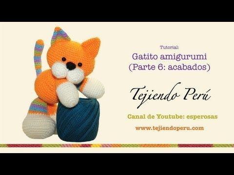 Gatito amigurumi (kitten) Parte 5: tejiendo la colita, hocico, orejas y nariz - YouTube