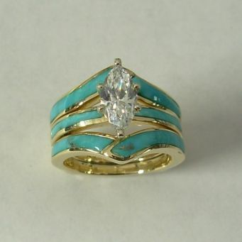 Gold Wedding Set With Natural Turquoise Inlay And