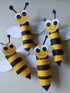 recycler le rouleau de papier toilette, abeilles sympathiques en rouleaux recyclés                                                                                                                                                     Plus