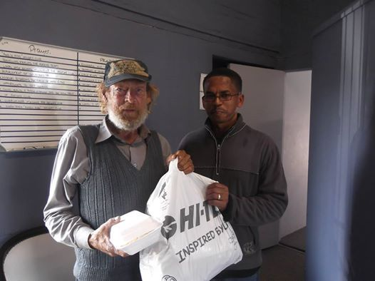 """This afternoon , the man on the left walked through our doors , deaf dump & hungry. Looking for food & clothing , he was assisted by Reggie (one of our Family care & support workers) who gave him some sandwiches and clothing from our clothing bank. Jesus said """"Truly I tell you, whatever you did for one of the least of these brothers and sisters of mine, you did for me."""" #love #stoppingForTheOne"""