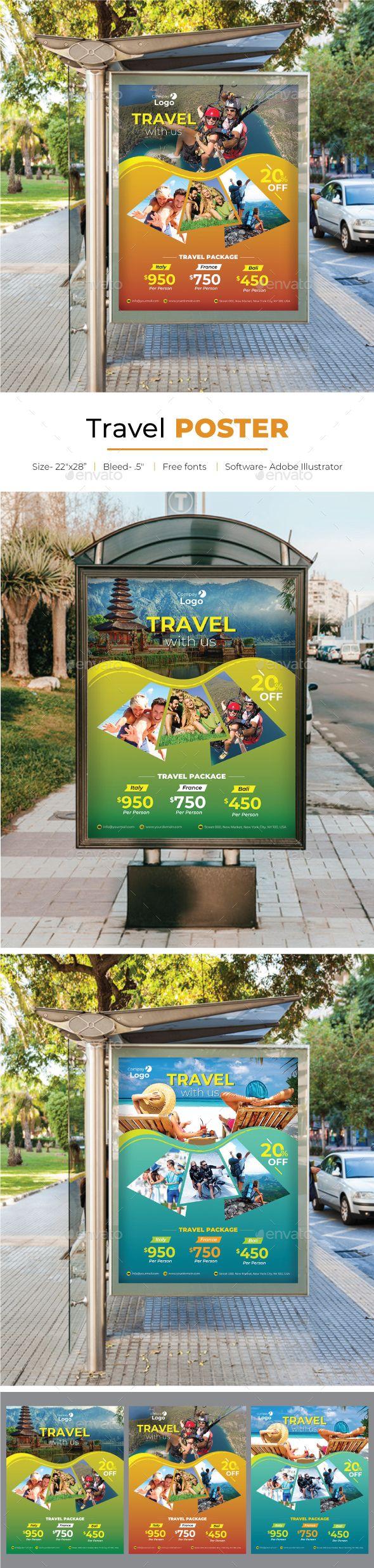 Travel Poster Template Vector EPS, AI Illustrator