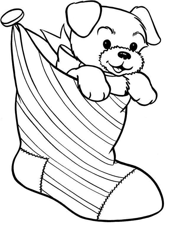 Christmas Stocking And Dog Coloring Page