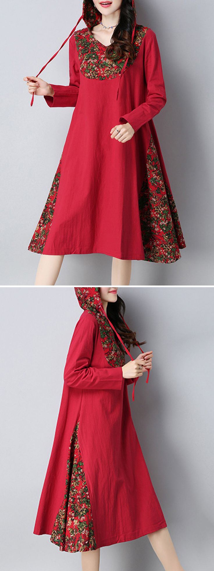 O-NEWE Patchwork Printed Hooded Long Sleeves Dresses For Women