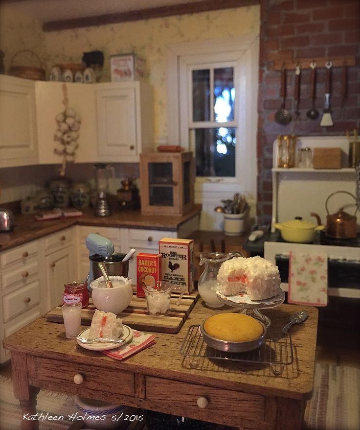 Miniature Kitchen: Making Coconut Cake In Kathleen Holmes' Dollhouse Kitchen