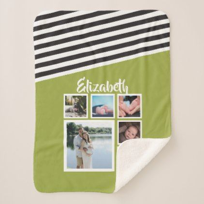 Make Your Own Personalized Bright Green Striped Sherpa Blanket - stripes gifts cyo unique style