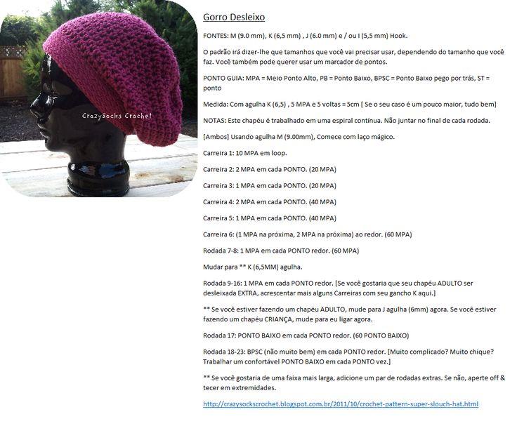 Como fazer Gorro Desleixo em Crochet | crochê | Pinterest