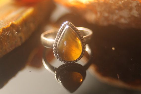 SILVER RING with Natural Honey Opal by PiromanGemstones on Etsy, $45.00