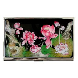 Metal Card Holder with Mother of Pearl Pink Lotus Flower Design
