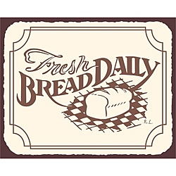 @Overstock - This great vintage metal popular vintage bakery tin sign depicts a loaf of bread on a checkered table cloth and reads: Fresh Daily Bread.http://www.overstock.com/Main-Street-Revolution/Fresh-Bread-Daily-Bakery-Wall-Decor-Vintage-Metal-Art-Kitchen-Retro-Tin-Sign/6731242/product.html?CID=214117 $38.49