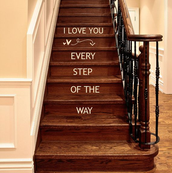 I Love You Every Step Of The Way wall decal words lettering Valentine Decals, Arrow and Hearts decor on Etsy, $20.00