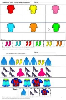 Cut and Paste-What Should I Wear Today? PK, K, Special Education, Autism This packet of 25 cut and paste worksheet features articles of clothing for all seasons. Students will enjoy learning the appropriate attire to wear according to the weather and the event.  What Should I Wear Today? Consists of the following worksheets: •	Coloring Matching  •	What Come Next •	Matching Letter-upper case, low case  •	Number Matching •	Counting •	Addition •	Pick the Right Clothing