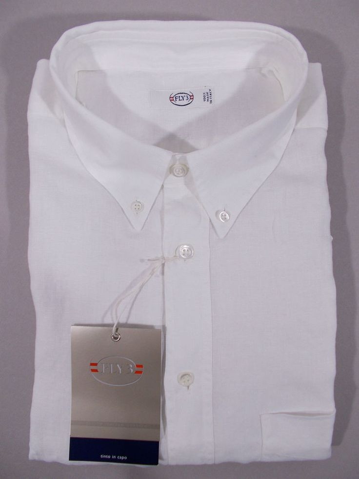 NWT FLY3 camicia uomo casual 100% LINO LAVATO manica lunga BIANCO P/E tg. XL-XXL