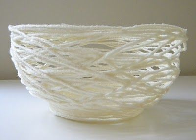 Papier mache yarn bowl. Easy DIY gift handmade