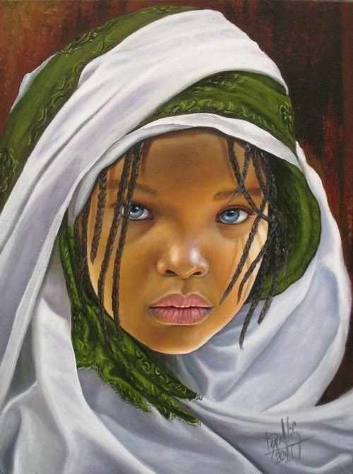 Niña de África 37 Mixta sobre lienzo 30 x 40 ctms 2011 by Dora Alis Mera V.                                                                                                                                                      Más