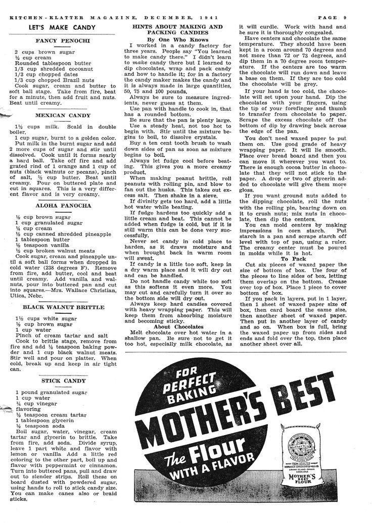 Kitchen Klatter Magazine, December 1941 - Fancy Penochi, Mexican Candy, Aloha Panocha, Black Walnut Brittle, Hints on Making Candy