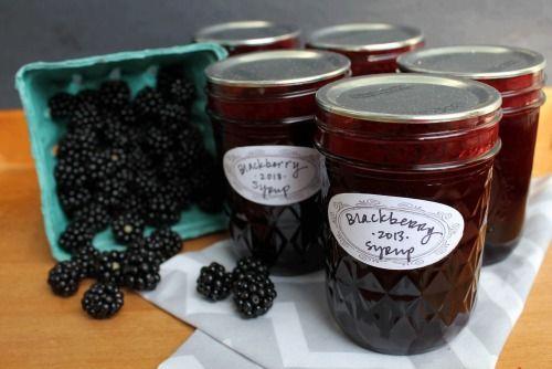 Blackberry Syrup recipe from Sunset magazine Yield: 5-6 half pints 3 lbs. (about 9 cups) blackberries 2 1/2 c. sugar 1 T. lemon zest 1/4 c. lemon juice