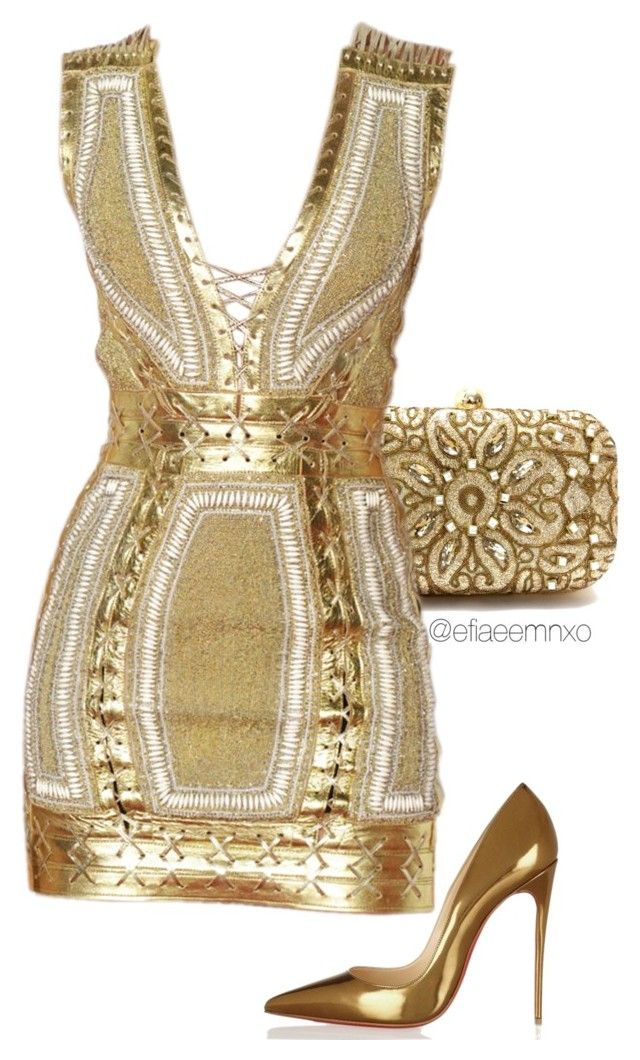 """Golden girl"" by efiaeemnxo ❤ liked on Polyvore featuring moda, Christian Louboutin, gold, christianlouboutin, balmain, sbemnxo y styledbyemnxo"