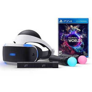 a brand new sony playstation vr psvr launch complete boxed bundle worlds ps4 game