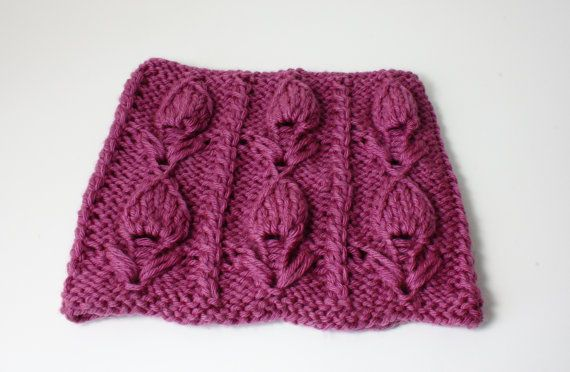 Hand knitted cowl Tulip pattern floral chunky by CreamKnit on Etsy