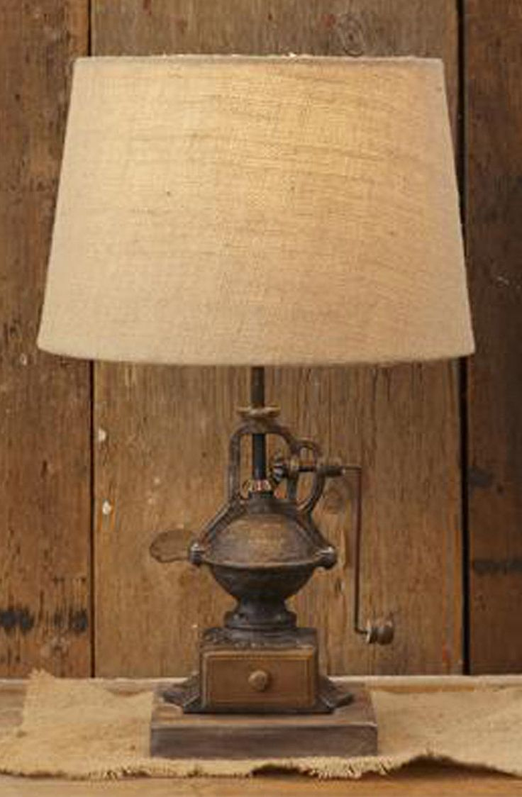 RUSTIC DECOR Iron Coffee Grinder Lamp Electric Tabletop Lamp Lighting On/Off  Description  RUSTIC DECOR Iron Coffee Grinder Lamp Electric Tabletop Lamp Lighting On/Off  Perfect Farmhouse, French Country, Ranch, Country Home Decor!  Primitive St...