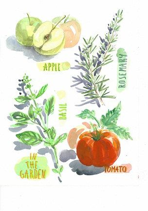 Instant Download,Watercolor Art,Basil Painting,Rosemary Art,Apple Painting,Tomato Art,JPG,Wall Art,Kitchen Decor,High Resolution,600 DPI