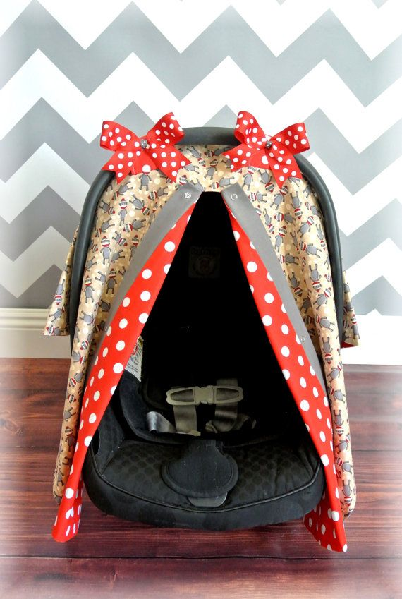 SOCK MONKEY carseat canopy car seat cover red by JaydenandOlivia.com & 56 best Boys Baby Carseat Canopy images on Pinterest | Baby cars ...
