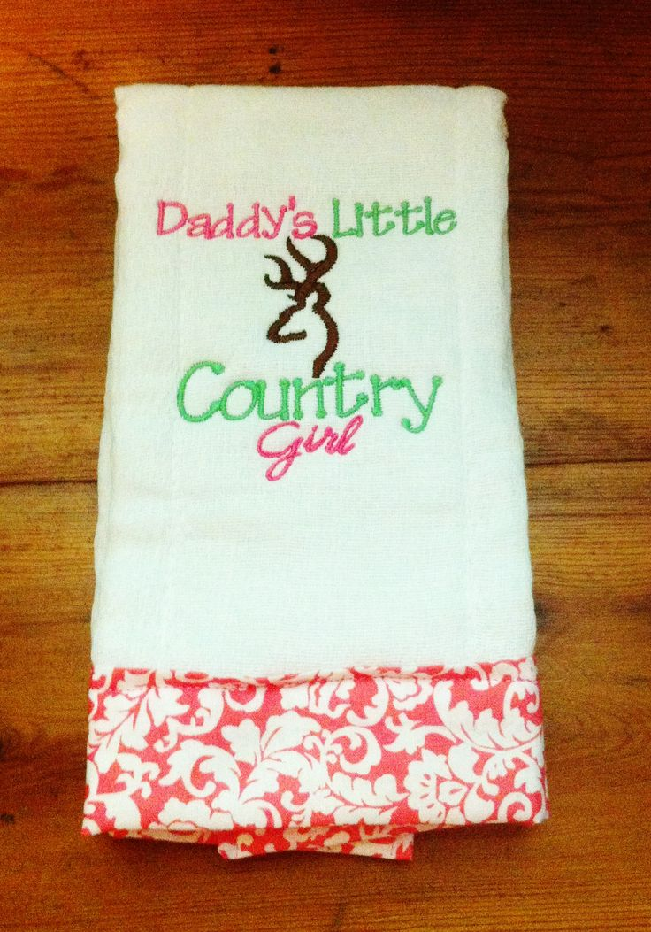 Daddy's Little Country Girl Burp Cloth - Cute Baby Girl Gift
