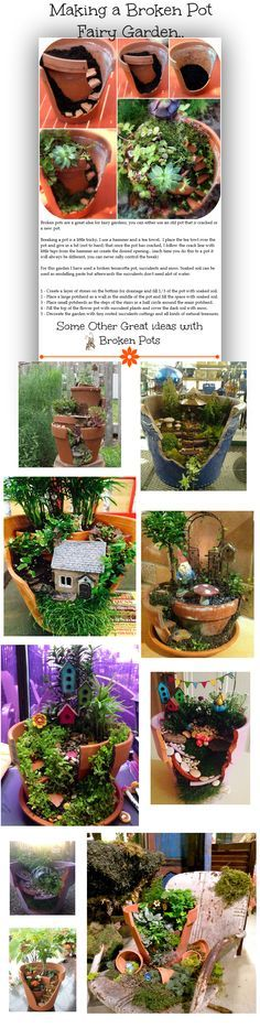 Fabricación de un Jardín de Hadas con una Maceta Rota.