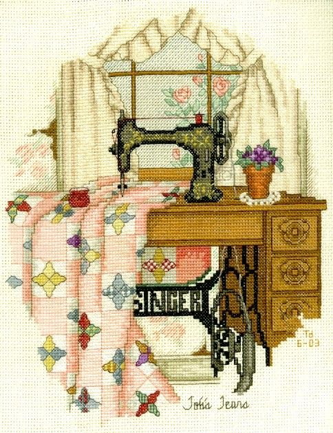 Sewing machine and quilt.