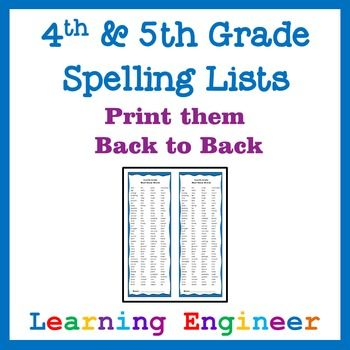 Spelling Lists - 4th Grade and 5th Grade