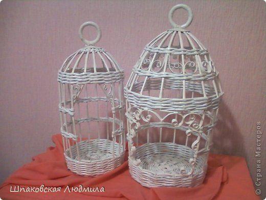Здравствуй,Страна! Попросили сплести клеточки декоративные для птиц счастья. Вот, что у меня получилось.  фото 1