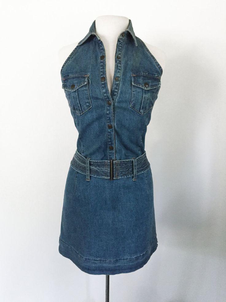 """Vintage 1990s """"Carolina Blues by Carolina Colors"""" Shoulderless Stretch Denim Halter Mini Dress with Belt- Junior's size 10 by MeGustaVintage on Etsy"""
