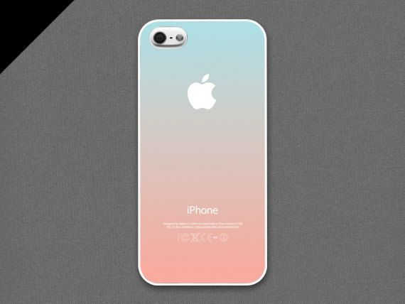 iPhone 4 / 4s Case - Pastel gradation//  light cyan & peach,iPhone 4s Case, Cases for iPhone 4, Hard iPhone 4 Case on Etsy, $19.99