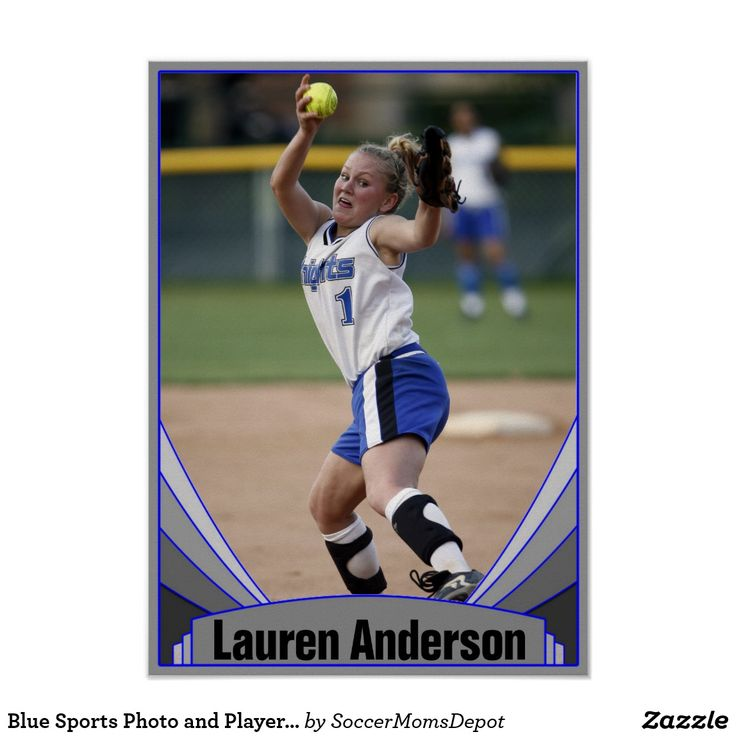 Blue Sports Photo and Player Name Custom Poster - Personalize it with your own name and photo! #sports #poster #softball #customizable