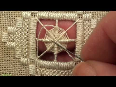 06 Heart Etui - Hardanger - Wrapping and Greek Cross Filling Stitches - YouTube