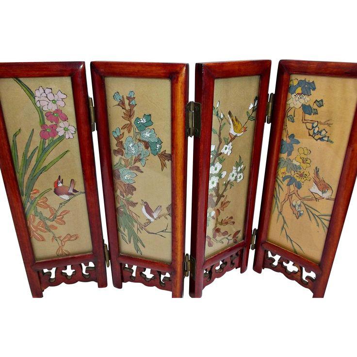 Vintage Asian Tabletop Folding Screen Geisha Girls Birds Flowers Dolls