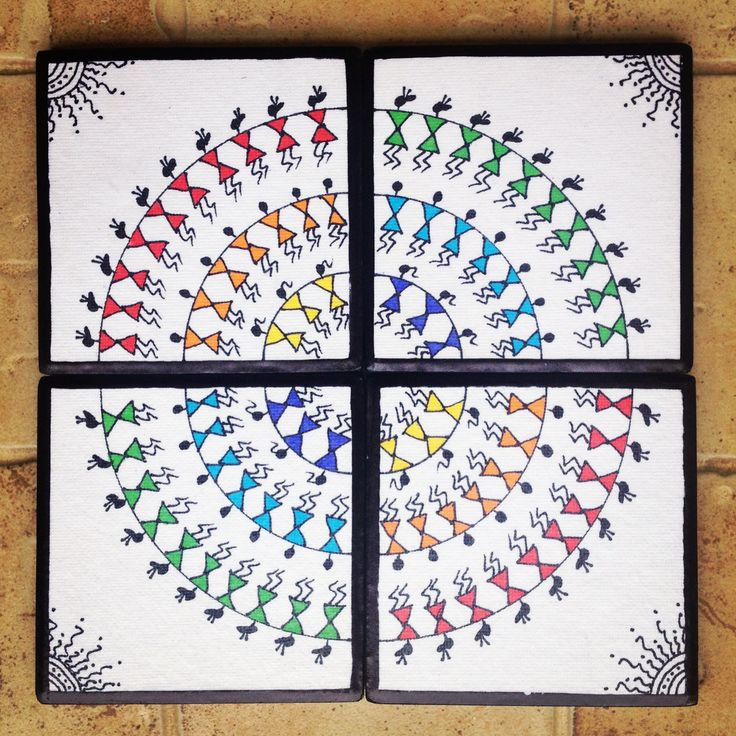 Warli art for your dining... Tea coasters (set of 4)