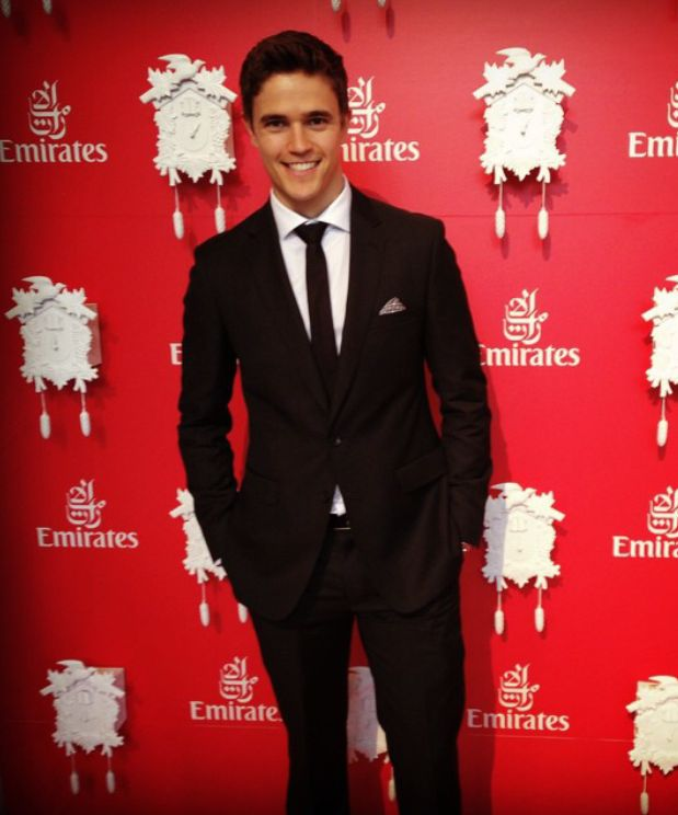 Nic Westaway, star of Home and Away, enjoying the Emirates marquee in the New York Suit.