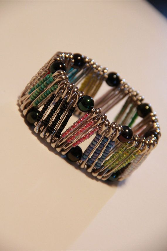 Multi color Zig Zag safety pin bracelet by PinPrikStudio