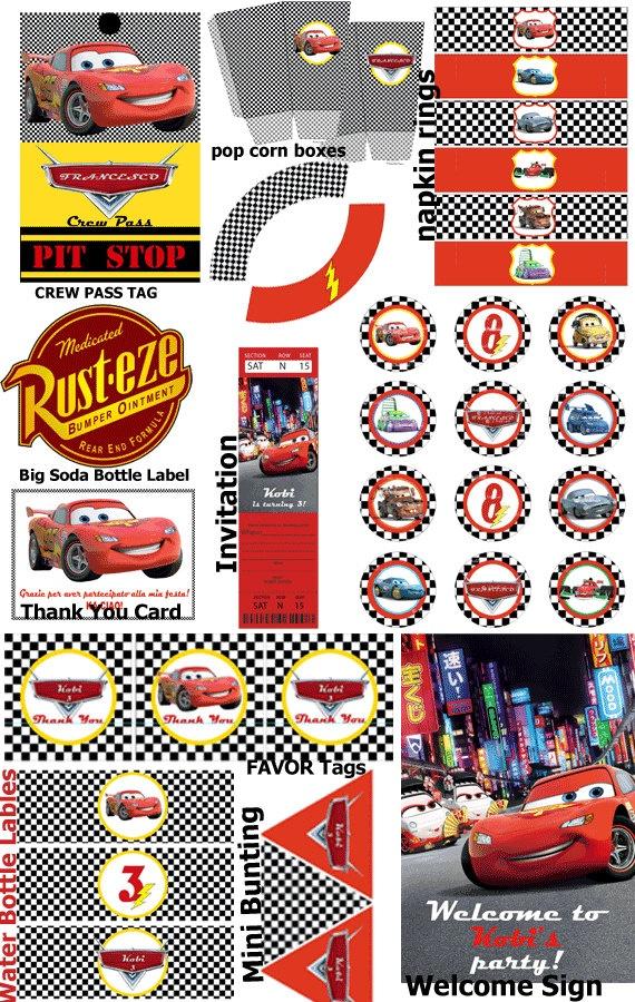 Cars 2 Party Kit - Printable Set Party Kit - Festa stampabile e personalizzabile - PDF. $29.00, via Etsy.