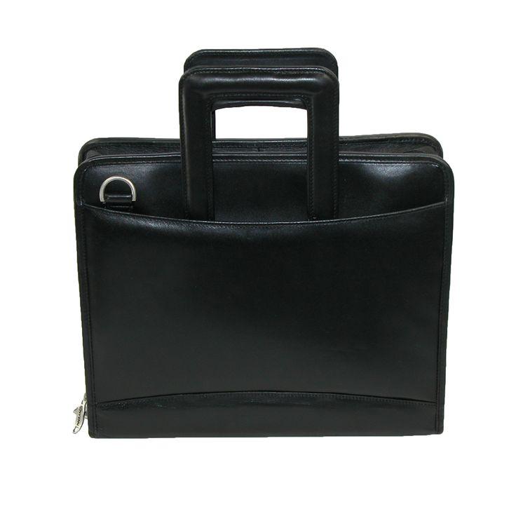 Winn International Leather 3 Ring Binder Portfolio with Shoulder Strap