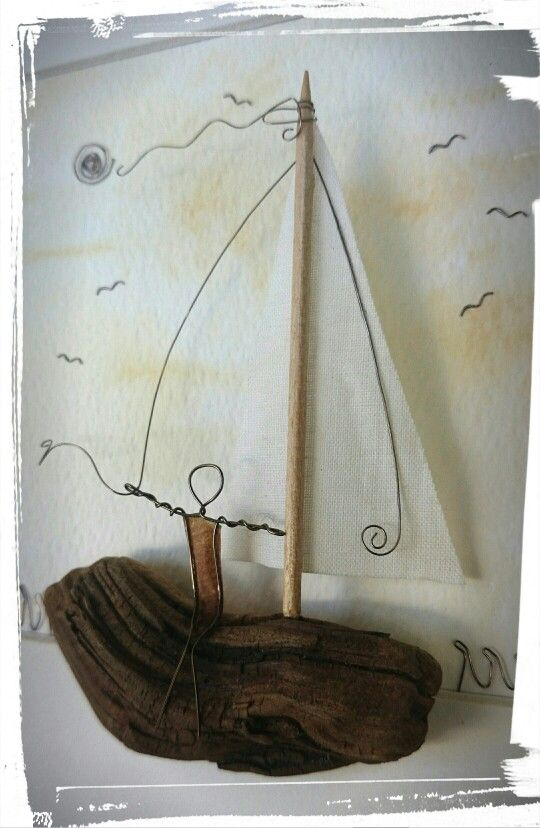 Copper Wire, paper and driftwood www.thestoneartgallery.com Facebook: The Stone Art Gallery
