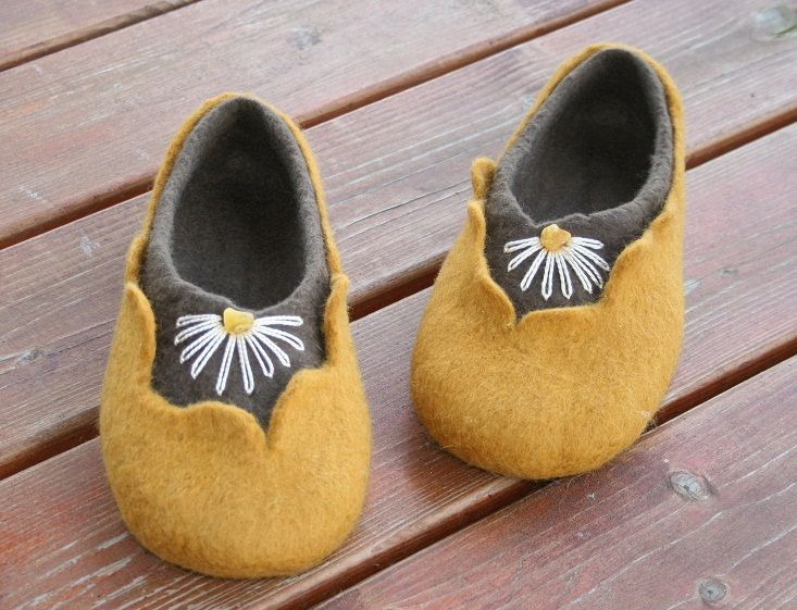 Women house shoes, felted slippers, wool slippers Amber - handmade - wool shoes. $70.00, via Etsy.