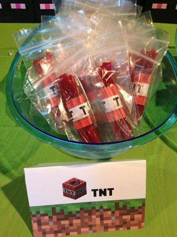 Minecraft Party TNT Birthday Favor Bags  Minecraft Party Ideas - Food Design Activites Party Decor Birthday #minecraft #minecraftfood #minecraftparty #minecraftbirthday #minecraftpartyideas