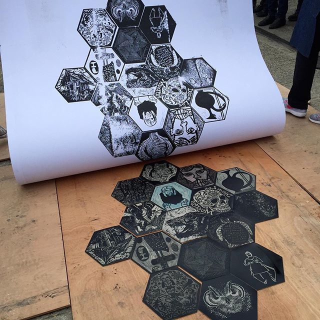 Our first print on the printing-with-a-steamroller learning curve #printstories #bigsteamprint