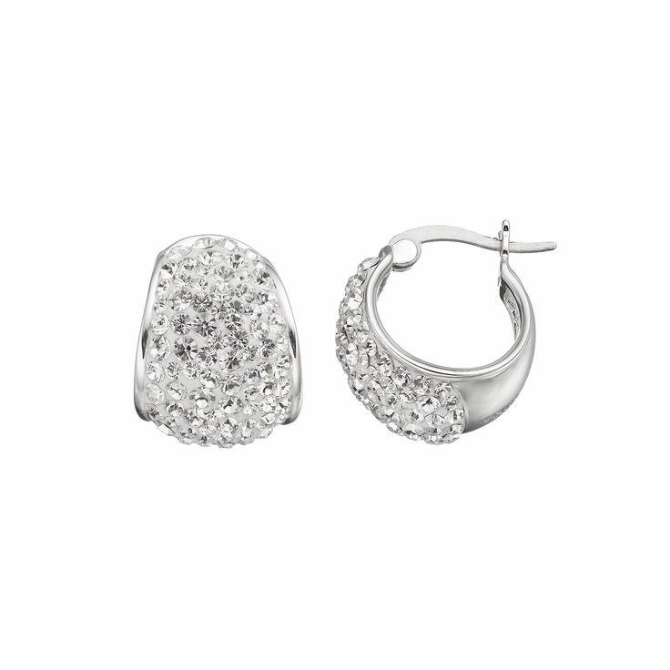 Confetti Clear Crystal Hoop Earrings, Women's, White